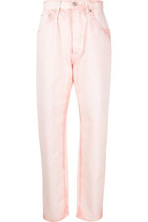 Alberta Ferretti Women Tapered - Bleach-wash tapered jeans
