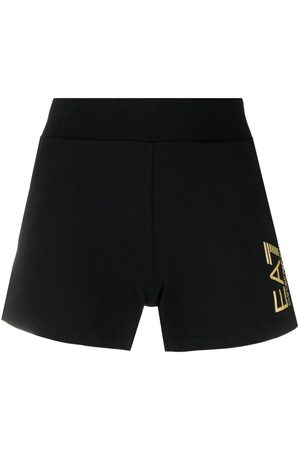 EA7 Women Sports Shorts - Logo print fitted shorts