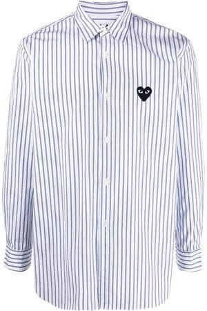 Comme des Garçons Long-sleeved pinstripe heart-embroidery shirt