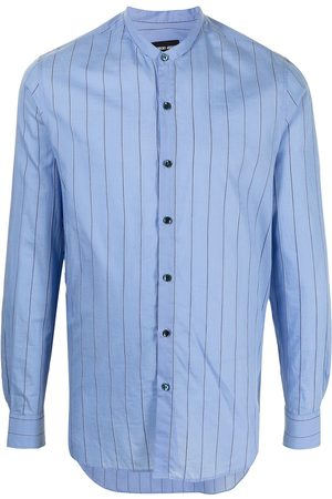 Armani Stripe print collarless shirt