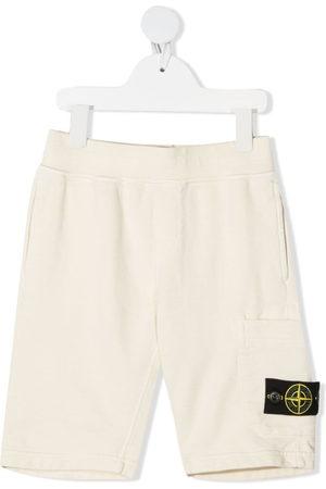 Stone Island Boys Shorts - Compass-logo straight shorts
