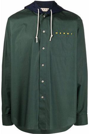Marni Men Jackets - Logo-print hooded jacket