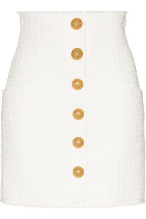 Balmain High-rise tweed miniskirt