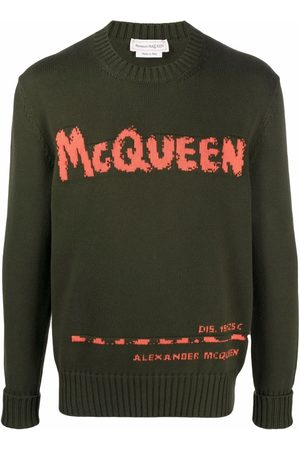 Alexander McQueen Men Jumpers - Graffiti intarsia-knit jumper