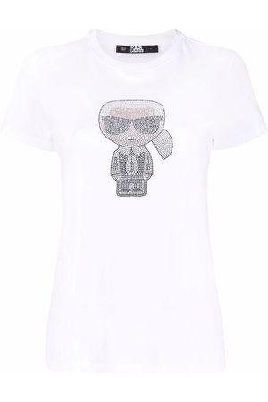 Karl Lagerfeld Ironik Karl gem-embellished T-shirt