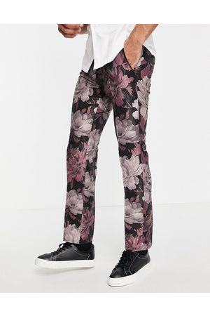 Twisted Tailor Suit trousers in black and floral jacquard