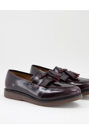 H by Hudson Calne high shine loafers in burgundy leather