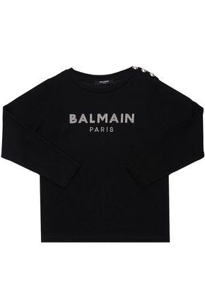 Balmain Girls T-shirts - Embellished L/s Organic Cotton T-shirt