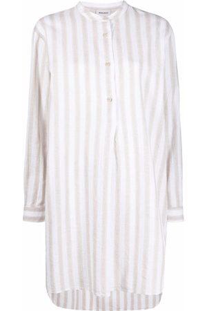Woolrich Striped collarless long shirt