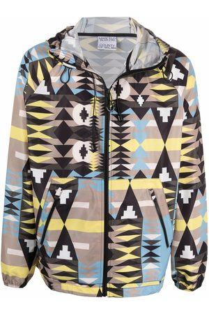 MARCELO BURLON Men Jackets - Geometric-print hooded jacket