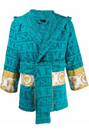 VERSACE Logo-stripe short towelling robe