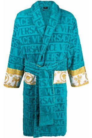 VERSACE Logo-stripe towelling robe