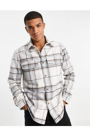 River Island Check overshirt in white/grey
