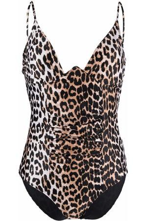 Ganni Leopard-print ruched swimsuit