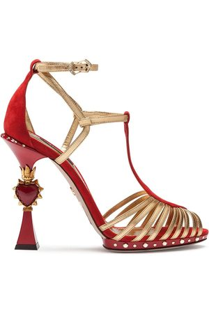 Dolce & Gabbana Women Sandals - Sandals in suede and mordoré with sculpted heel