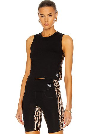 R13 Active Side Stripe Cropped Tank Top in Combo