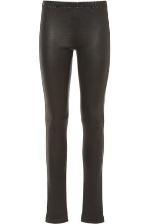 MM6 MAISON MARGIELA Women Leather Trousers - Stretch Faux Leather Coated Leggings