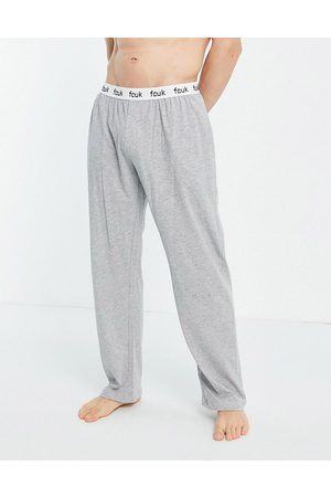 French Connection FCUK jersey trousers in light melange and white