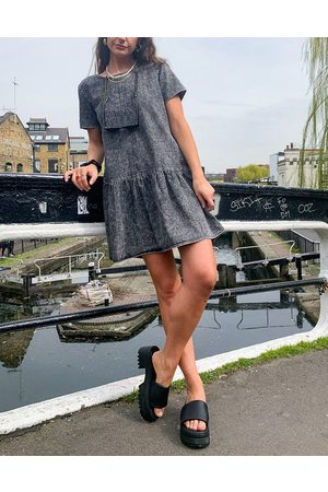 Noisy May Denim smock dress with drop hem in washed