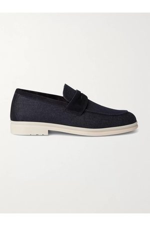 Loro Piana Men Loafers - Summer City Walk Suede-Trimmed Wool-Blend Denim Loafers