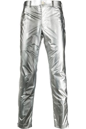 Comme des Garçons Men Slim Trousers - Slim-fit metallic trousers