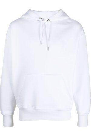 AMI Paris Men Hoodies - Embroidered-logo drawstring hoodie