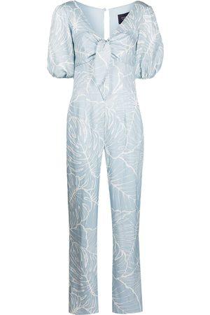 Marchesa Notte Leaf-print jumpsuit