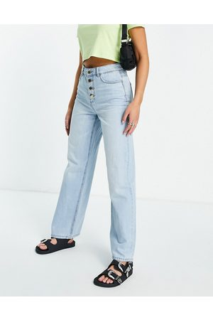 ONLY Molly wide leg jeans with exposed buttons in light