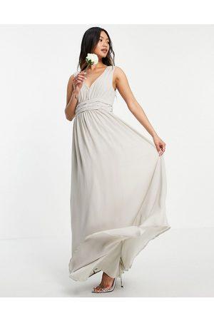 VILA Bridesmaid maxi dress in pale