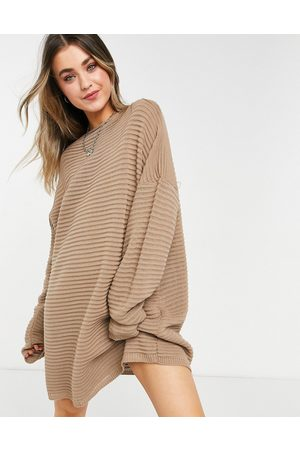 In The Style X Megan Mckenna knitted slouch off shoulder dress in taupe