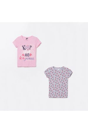 Fame Forever Young Girls Printed Round Neck T-shirt- Set of 2
