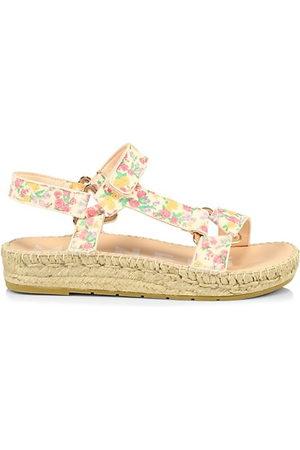 MANEBI Women Platform Sandals - Loveshackfancy x Floral Leather Espadrille Sport Sandals