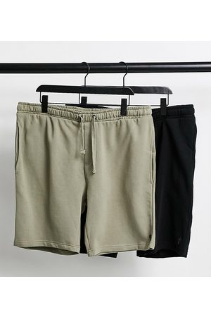 French Connection Plus 2 pack jersey shorts in black and light khaki
