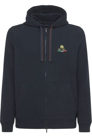 Loro Piana Men Hoodies - Logo Embroidery Horsey Cotton Zip Hoodie