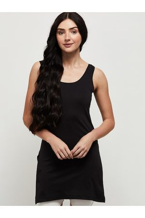 Max Collection Women Black Solid Cotton Camisoles
