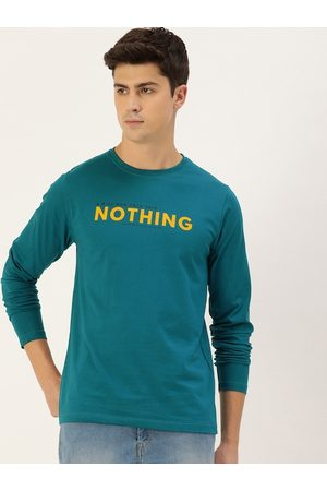 Difference of Opinion Men Teal Blue & Mustard Yellow Printed Round Neck Cotton T-shirt