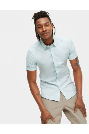 New Look Short sleeve muscle fit oxford in light