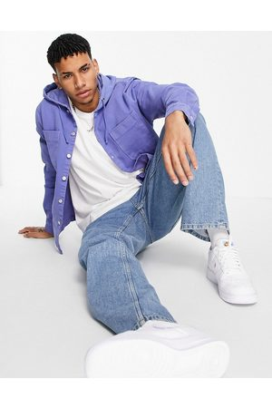 River Island Overshirt with hood in lilac