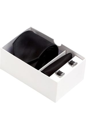 Alvaro Castagnino Men Black & Silver-Toned Solid Accessory Gift Set