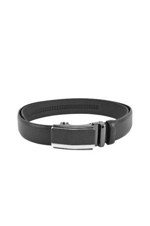 BuckleUp Men Black Textured Leather Belt