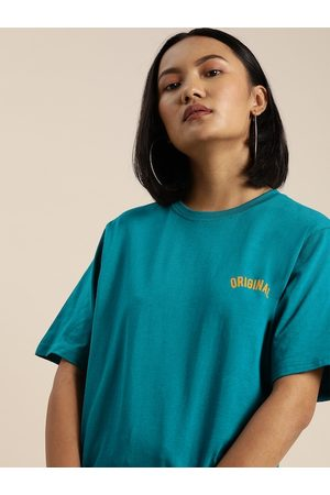 DILLINGER Women Teal Blue Solid Round Neck Longline Oversized T-shirt