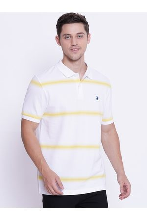 Red Tape Men White Striped Polo Collar T-shirt
