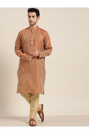 SOJANYA Men Rust Orange & Beige Jacquard Ethnic Motifs Woven Design Straight Kurta