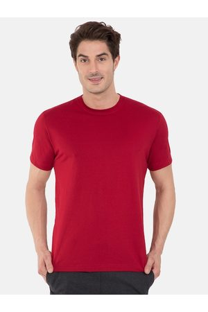 Jockey Men Red Solid Comfort Fit Round Neck Lounge T-shirt 2714-0105-SHRED