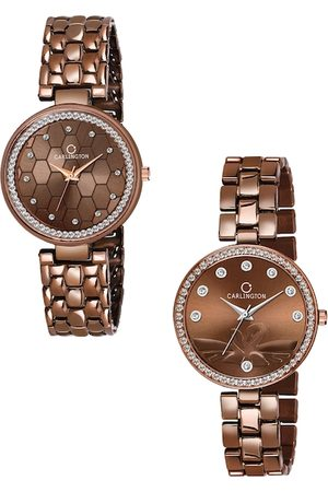 Carlington Unisex Set Of 2 Brown Analogue Watch Combo Hexa Brown and Duck Brown
