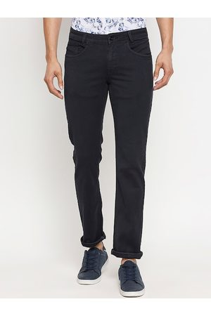 Mufti Men Navy Blue Skinny Fit Solid Regular Trousers
