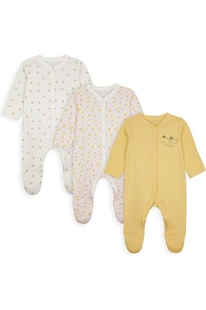 mothercare Pack of 3 Infant Girl Yellow, White and Pink Printed Pure Cotton Sleepsuits