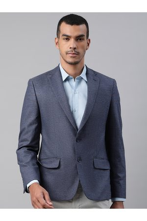 Marks & Spencer Men Navy Blue Checked Slim Fit Single-Breasted Formal Blazer