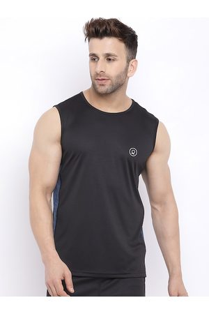 CHKOKKO Men Black & Blue Solid Round Neck T-shirt