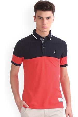 Nautica Men Pink & Navy Colourblocked Polo Collar T-shirt